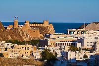 Sultanat d' Oman, Mascate, quartier du palais Al-Alam et du fort Mirani //  Sultanat of Oman, Muscat, Mirani fort and Al Alam Palace of Sultan Qaboos