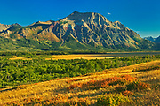Vimy Ridge. Canadian Rocky Mountains. Vimy Peak is the front range mountain standing east of the townsite in Waterton National Park. Vimy Ridge stretches for three km to the southeast of the peak. It was originally called Sheep Mountain and Goat Mountain. , Waterton Lakes  National Park, Alberta, Canada