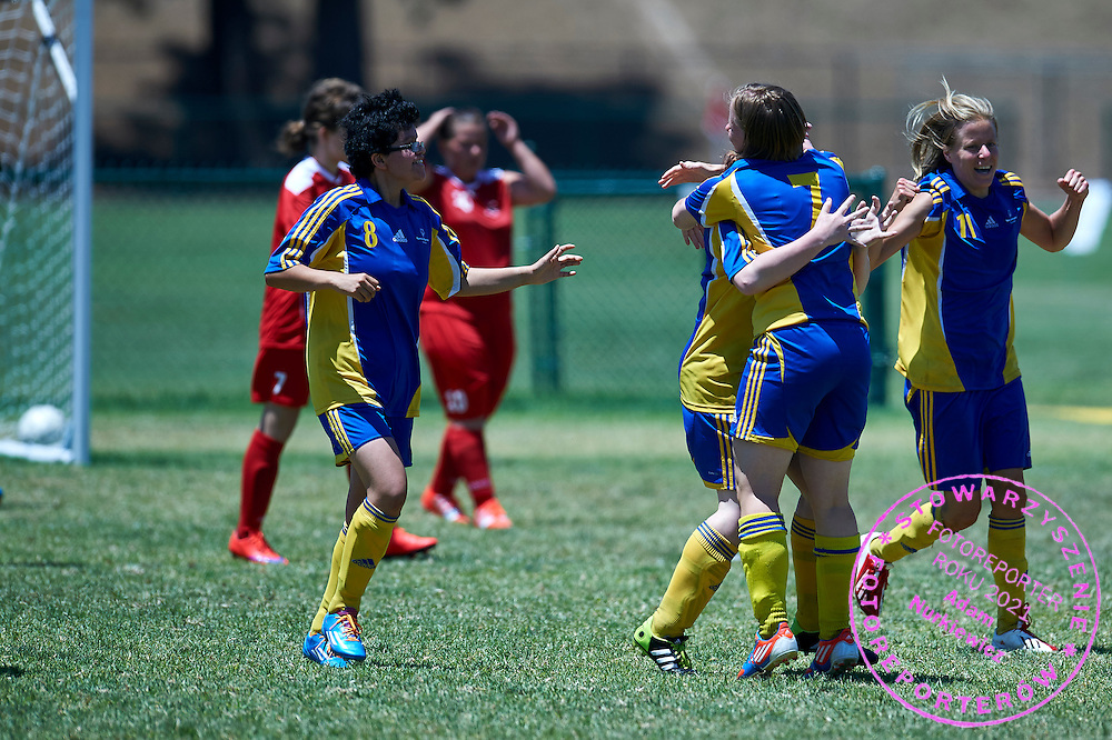 SO Sweden athlete (R) celebrates with team mates after scoring against SO Poland while football women match 7-a-side during fourth day of the Special Olympics World Games Los Angeles 2015 on July 28, 2015 at Balboa Sports Centre in Los Angeles, USA.<br /> USA, Los Angeles, July 28, 2015<br /> <br /> Picture also available in RAW (NEF) or TIFF format on special request.<br /> <br /> For editorial use only. Any commercial or promotional use requires permission.<br /> <br /> Adam Nurkiewicz declares that he has no rights to the image of people at the photographs of his authorship.<br /> <br /> Mandatory credit:<br /> Photo by &copy; Adam Nurkiewicz / Mediasport