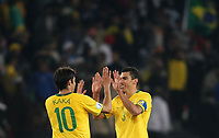 20090621: PRETORIA, SOUTH AFRICA - Italy vs Brazil: FIFA Confederations Cup 2009. In picture: Kaka and Lucio (BRA) celebrating victory. PHOTO: CITYFILES