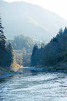 Scenic photo of  the Wilson River, near Tillamook, Oregon.