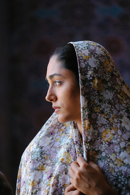 "Portrait of Iranian actress Golshifteh Farahani while filming on the set of Jon Stewart's ""Rosewater."""