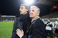 FOOTBALL - FRENCH CUP 2009/2010 - 1/4 FINAL - QUEVILLY US v US BOULOGNE - 23/03/2010 - PHOTO ERIC BRETAGNON / DPPI - JOY MICHEL MALLET (QUEVILLY PDT) / REGIS BROUARD (QUEVILLY COACH) AT THE END OF MATCH