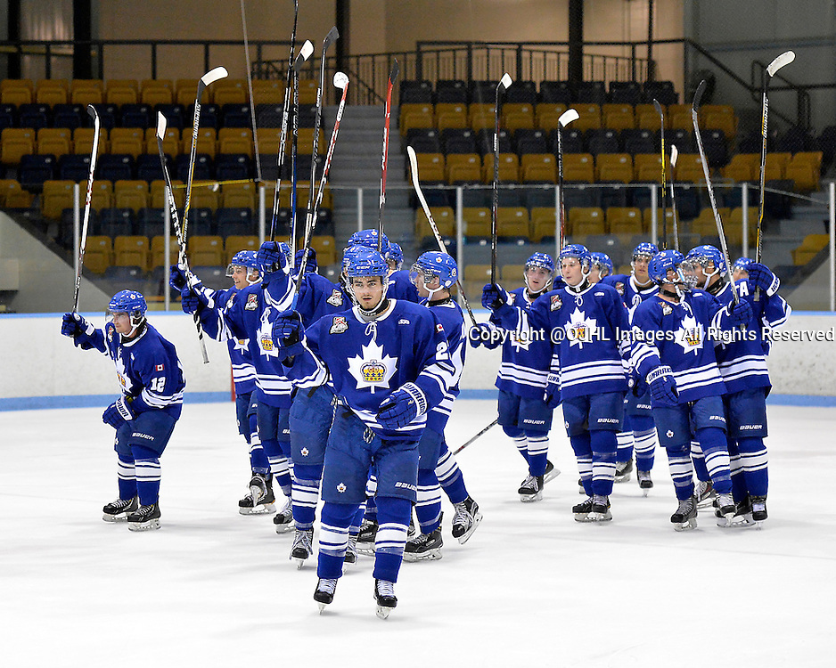 MARKHAM, ON - Sep 18, 2015 : Ontario Junior Hockey League game action between Burlington and Markham, Riley St. Onge #27 of the Markham Royals and teammates thank the crowd after their victory.<br /> (Photo by Shawn Muir / OJHL Images)