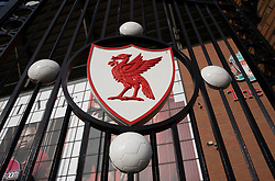 LIVERPOOL, ENGLAND - Tuesday, March 17, 2020: A Liverbird crest on the Paisley Gateway at Anfield, home of Champions-elect Liverpool Football Club, pictured after the suspension of all football due to the Coronavirus (COVID-19) and Liverpool's decision to close it's Boot Room cafe and official stores. (Pic by David Rawcliffe/Propaganda)