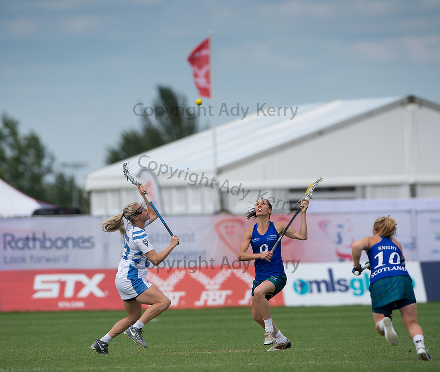 Scotland vs Israel during their classification game at the 2017 FIL Rathbones Women's Lacrosse World Cup, at Surrey Sports Park, Guildford, Surrey, UK, 21st July 2017.