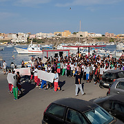 Hundreds of Eritrean refugees have recently arrived in Lampedusa. They are protesting against their fingerprints being taken in Lampedusa. They want to be able to move on to other European countries, and are aware that once they have given their fingerprints, they can not go to any other country.