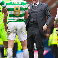 Rangers v Celtic Scottish Premiership 11 March 2018; Brendan Rodgers (Celtic, Manager) and Scott Brown (Celtic, 8) celebrate during the  Rangers v Celtic Scottish Premiership match played at Ibrox Stadium, Glasgow; <br /> <br /> &copy; Chris McCluskie | SportPix.org.uk