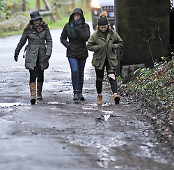 ©Licensed to London News Pictures 26/12/2019. <br /> Chiddingstone ,UK. People getting wet at the Old Surrey Burstow and West Kent Boxing day hunt at Chiddingstone.  Heavy rain and windy weather across parts of the UK.  Photo credit: Grant Falvey/LNP