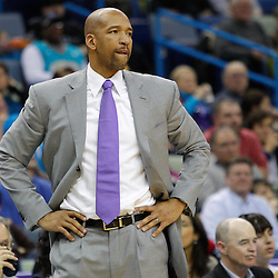 February 7, 2011; New Orleans, LA, USA; New Orleans Hornets head coach Monty Williams against the Minnesota Timberwolves during the fourth quarter at the New Orleans Arena. The Timberwolves defeated the Hornets 104-92.  Mandatory Credit: Derick E. Hingle