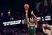 Elijah Burns (1) of Siena shoots a free-throw after being fouled during an NCAA college basketball game against Xavier, Friday, Nov. 8, 2019, at the Cintas Center in Cincinnati, OH. Xavier defeated Siena 81-63. (Jason Whitman/Image of Sport)