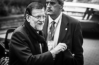 Mariano Rajoy Brey, Prime minister of Spain arrives at a EU Budget summit at the European Council building after a break in Brussels, Friday, Feb. 8, 2013. A European Union summit to decide EU spending for the next seven years entered a second day after all-night negotiations left a standoff over spending unresolved. The leaders of the 27 nations inched toward a compromise Friday that would leave their common budget with a real-term cut for the first time in the EU's history.