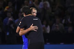 November 13, 2017 - London, England, United Kingdom - Lukasz Kubot (L) of Poland and Marcelo Melo of Brazil celebrates victory in the Doubles match against Ivan Dodig of Croatia and Marcel Granollers of Spain during day two of the Nitto ATP World Tour Finals at O2 Arena, London on November 13, 2017. (Credit Image: © Alberto Pezzali/NurPhoto via ZUMA Press)