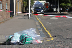© Licensed to London News Pictures. 02/08/2018. London, UK. The scene on Warham Street in Camberwell, south London, where three men are reported to have been stabbed. One victim was pronounced dead at the scene and has been identified as 23-year-old rapper 'Incognito'. Two others were taken to hospital. Police have arrested two men on suspicion of murder. Photo credit: Rob Pinney/LNP