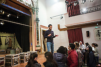 SLIEMA, MALTA - 8 FEBRUARY 2016: Actor Nahem Hayaay (who interprests the role of Hamlet) answers questions from the Maltse audience during a Q&A sessions after performing the touring Hamlet at the Salesian Theatre in Sliema, Malta, on February 8th 2016.<br /> <br /> The touring Hamlet, performed by the Shakespeare's Globe theatre company, is part of the Globe to Globe tour that set off in April 2014 (on the 450th anniversary of Shakespeare's birth) with the ambitious intention of visiting every country in the world over 2 years. The crew is composed of a total of sixteen men and women: four stage managers and twelve twelve actors  actors perform over two dozen parts on a stripped-down wooden stage. So far Hamlet has been performed in over 150 countries, to more than 100,000 people and travelled over 150,000 miles. The tour was granted UNESCO patronage for its engagement with local communities and its promotion of cultural education. Hamlet was also played for many dsiplaced people around the world. It was performed in the Zaatari camp on the border between Syria and Jordan, for Central African Republic refugees in Cameroon, and for Yemeni people in Djibouti. On February 3rd it was performed to about 300 refugees in Calais at the camp known as the Jungle.