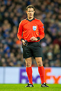 Referee Matej Jug (SVN) during the Europa League group stage match between Rangers FC and Villareal CF at Ibrox, Glasgow, Scotland on 29 November 2018.