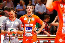 20150501 BEL: Volley Behappy2 Asse-Lennik - Knack Roeselare, Zellik<br />Dirk Sparidans (7) of Volley behappy2 Asse - Lennik, Robbert Andringa (6) of Volley behappy2 Asse - Lennik<br />©2014-FotoHoogendoorn.nl / Pim Waslander