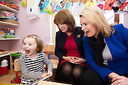 17/02/2016 Tainaiste Joan Burton and Senator Lorraine Higgins candidate for Galway East at Athenry Community Creche in Co. Galway with hilarious Clodagh Ward<br /> Photo:Andrew Downes, xposure.