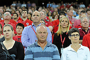 Spectators observe a moments silence in respect of ANZAC day during action from the Super 15 Rugby Union match played between the Queensland Reds and the NSW Waratahs at Suncorp Stadium (Brisbane, Australia) on Saturday 23rd April 2011<br /> <br /> Conditions of Use : NO AGENTS ~ This image is intended for Editorial use only (news or commentary, print or electronic) - Required Images Credit &quot;Steven Hight - Aura Images&quot;