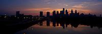 Sunrise over the Philadelphia skyline.