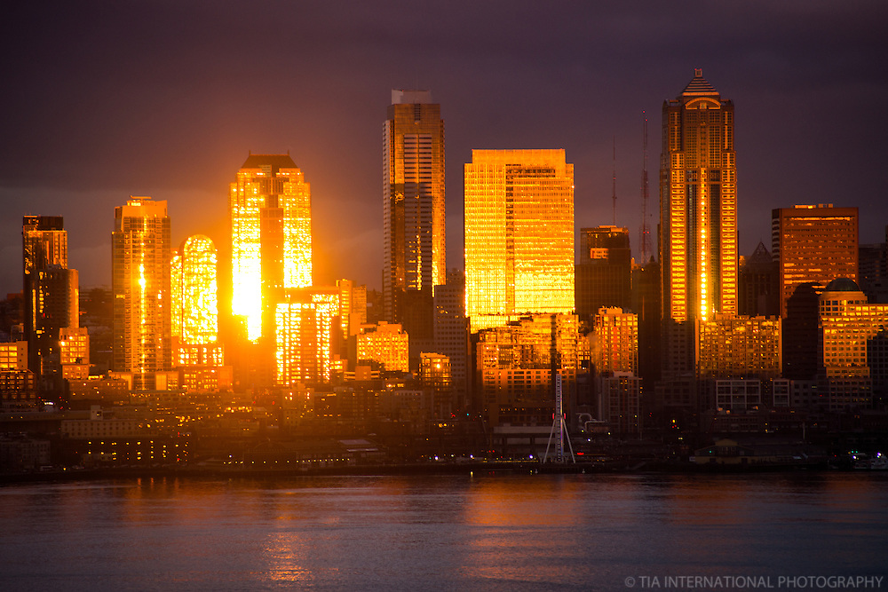 Seattle Skyline on Elliott Bay @ Dusk