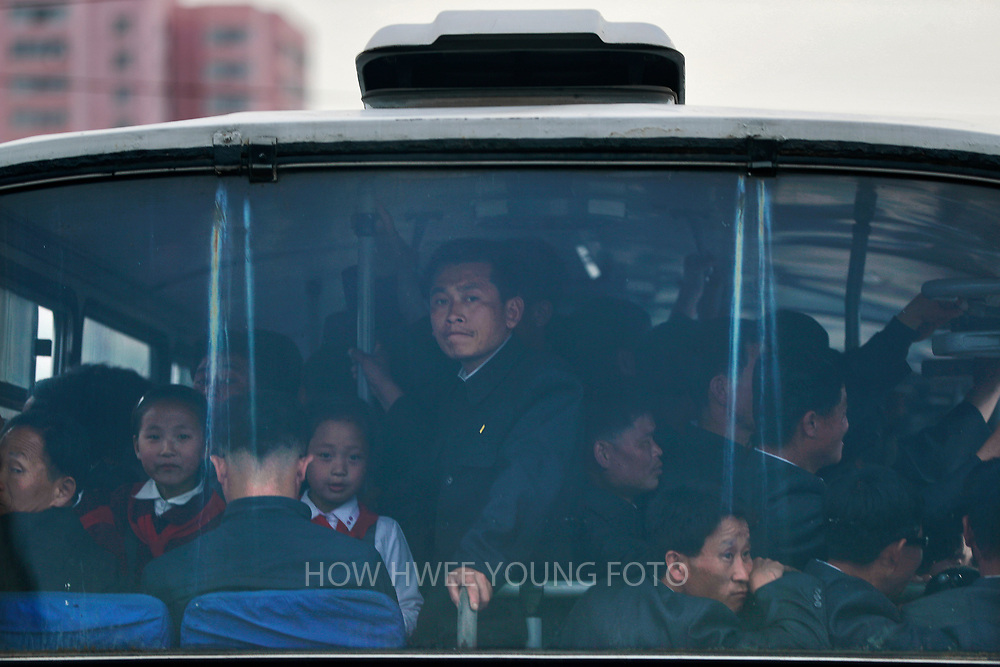 A picture made available on 17 April 2017 of North Korean commuters seen in a tram in Pyongyang, North Korea, 16 April 2017. A North Korean missile exploded within seconds of its launch on the east coast on 16 April, South Korean and US officials say as tensions rise in the region over nuclear issues.