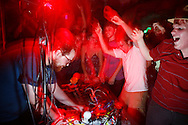 Dan Deacon plays a show with Ed Schrader, No Age, Deer Hunter and Dan Deacon play a show at Rhino's All Ages Club 5 Aug 2009. The show was a round robin.