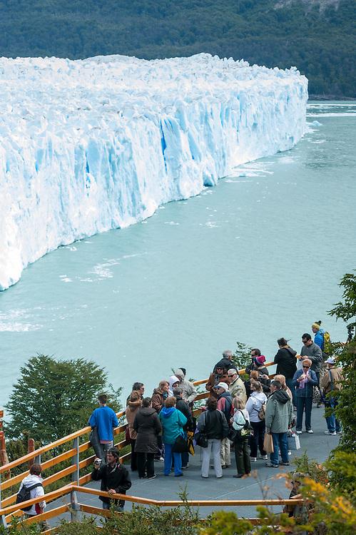 Tourists Watching Iceberg, Perito Moreno Glacier<br /> Los Glaciares National Park Argentina