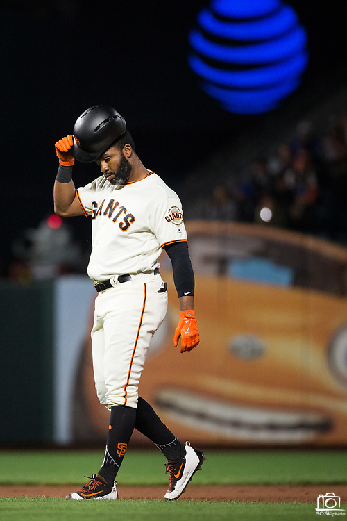 San Francisco Giants center fielder Denard Span (2) reacts to being tagged out by the Los Angeles Dodgers at AT&T Park in San Francisco, California, on September 13, 2017. (Stan Olszewski/Special to S.F. Examiner)