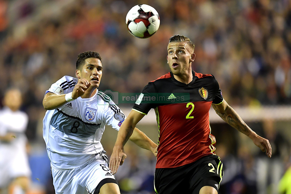 October 10, 2017 - Bruxelles, Belgique - Toby Alderweireld defender of Belgium battles for the ball with Pieros Sotiriou defender of Cyprus (Credit Image: © Panoramic via ZUMA Press)