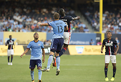 August 20, 2017 - New York, New York, United States - Frederic Brillant (13) of NYC FC & Kei Kamara (23) of New England Revolution fight for ball during regular MLS game on Yankee stadium NYC FC won 2 - 1  (Credit Image: © Lev Radin/Pacific Press via ZUMA Wire)
