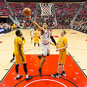 31 January 2017:  The San Diego State Aztecs men's basketball team hosts Wyoming Tuesday night at Viejas Arena. San Diego State guard Trey Kell (3) is fouled while driving to the basket on a layup attempt in the second half The Aztecs beat the Cowboys 77-68 at half time. www.sdsuaztecphotos.com