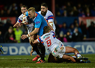 Craig Kopczak of Salford Red Devils is tackled during the Betfred Super League match at Belle Vue, Wakefield<br /> Picture by Richard Land/Focus Images Ltd +44 7713 507003<br /> 09/02/2018
