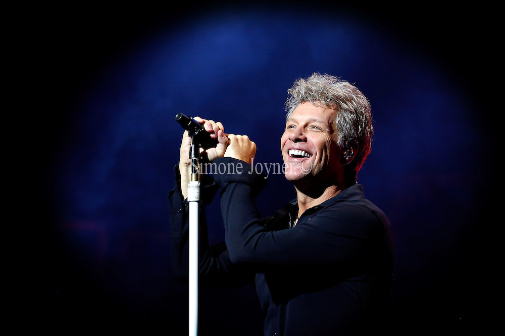 Jon Bon Jovi of Bon Jovi performs songs from their new album 'This House Is Not For Sale' at London Palladium on October 10, 2016 in London, England.  (Photo by Simone Joyner)