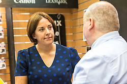Scottish Labour Leader, Kezia Dugdale, visits IT repair and retail store SimplyFixIt in Edinburgh, which has recently been accredited as a living wage employer.<br /> <br /> Pictured: Kezia Dugdale with Scott Wilkinson