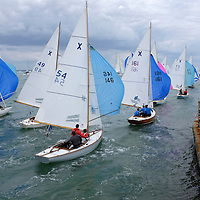 Scenes of yacht racing and around the town, pubs, clubs and Yacht Haven, Cowes Week, 2015, Isle of Wight, England, Very close in racing at Egypt Point, day boats, XOD, Daring, Etchell, Dragon, Sonar, Sunbeam,