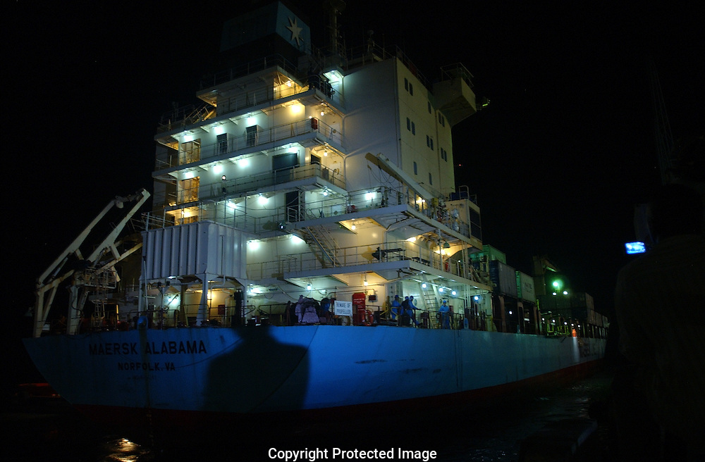 The cargo ship Mearsk Alabama arrives to safety in the Port of Mombasa, Kenya on Saturday night, just a few days after been kiddnaped by Somali Pirates in the Indian Ocean.  The ship crew mostly americans arrive unharmed except their captain, Richard Phillips, who remains hostage.  (PHOTO: Miguel Juarez)
