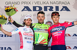 Second placed GAFFURINI Nicola (ITA) of Sangemini - Mg. K Vis team, winner PARRINELLOAntonio (ITA) of GM Europa Ovini Team and third placed BAZHKOU Stanislau(BLR) of Minsk Cycling Club celebrate during trophy ceremony after International cycling race 3rd Adria Mobil Grand Prix, on April 2, 2017 in Novo mesto and neighbourhood, Slovenia. Photo by Vid Ponikvar / Sportida