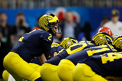 Michigan Wolverines quarterback Shea Patterson #2 during the Chick-fil-A Peach Bowl, Saturday, December 29, 2018, in Atlanta. ( Paul Abell via Abell Images for Chick-fil-A Peach Bowl)