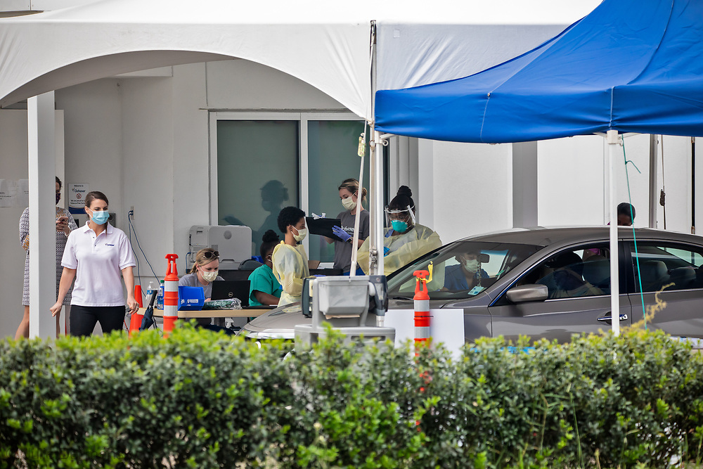 COVID-19 testing site in LaPlace, in St. John the Baptist Parish outside of Ochsner Medical Center  in La Place