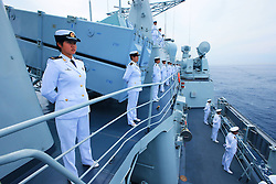60098919  <br /> Chinese naval soldiers stand in formation on Shenyang guided missile destroyer during a military review of the Joint Sea-2013 drill at Peter the Great Bay in Russia, July 10, 2013. The Joint Sea-2013 drill participated by Chinese and Russian warships concluded here in Peter the Great Bay in Russia on Wednesday, July 10, 2013.<br /> Photo by imago / i-Images