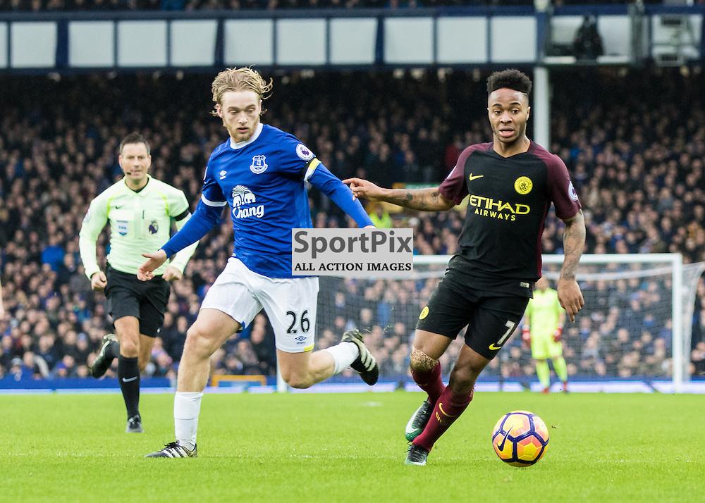 Goalscorer Tom Davies of Everton with Raheem Sterling of Manchester City. Everton v Manchester City, Barclays English Premier League, 15th January 2017. (c) Paul Cram | SportPix