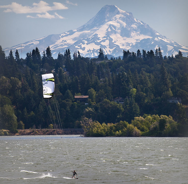 Kiteboarder and Mt. Hood, Columbia River Gorge.