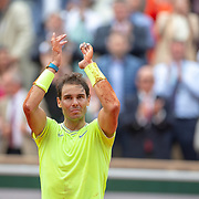 PARIS, FRANCE June 09.  An emotional Rafael Nadal of Spain after his victory against Dominic Thiem of Austria during the Men's Singles Final on Court Philippe-Chatrier at the 2019 French Open Tennis Tournament at Roland Garros on June 9th 2019 in Paris, France. (Photo by Tim Clayton/Corbis via Getty Images)