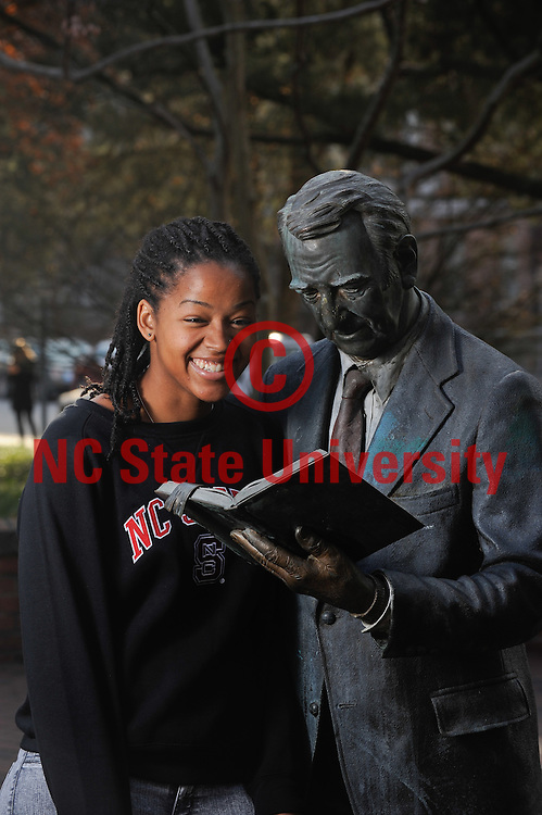 An admissions student in front of the strolling professor. Photo by Marc Hall