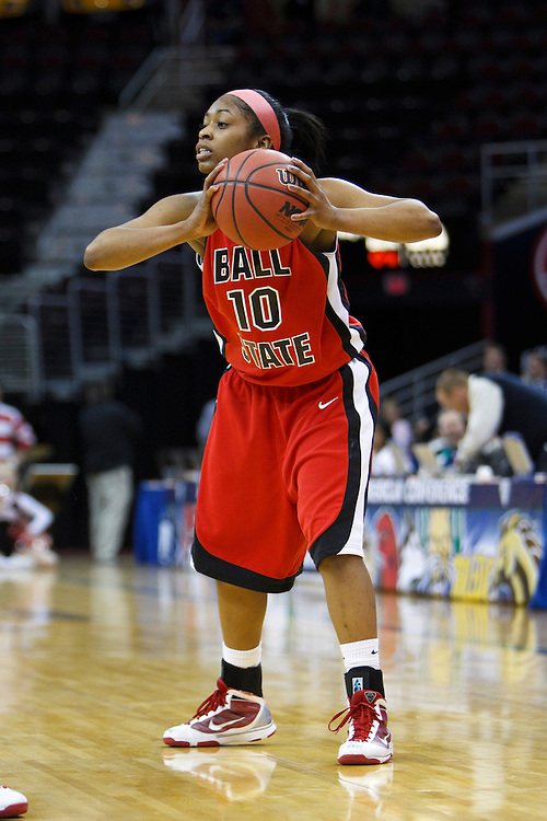 13 March 2010:   Ball State's Shanee' Jackson (10) during the MAC Tournament game basketball game between Ball State and Toledo and  at Quicken Loans Arena in Cleveland, Ohio.