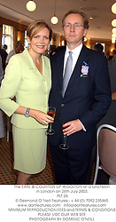 The EARL & COUNTESS OF WOOLTON at a luncheon in London on 26th July 2003.<br /> PLT 26