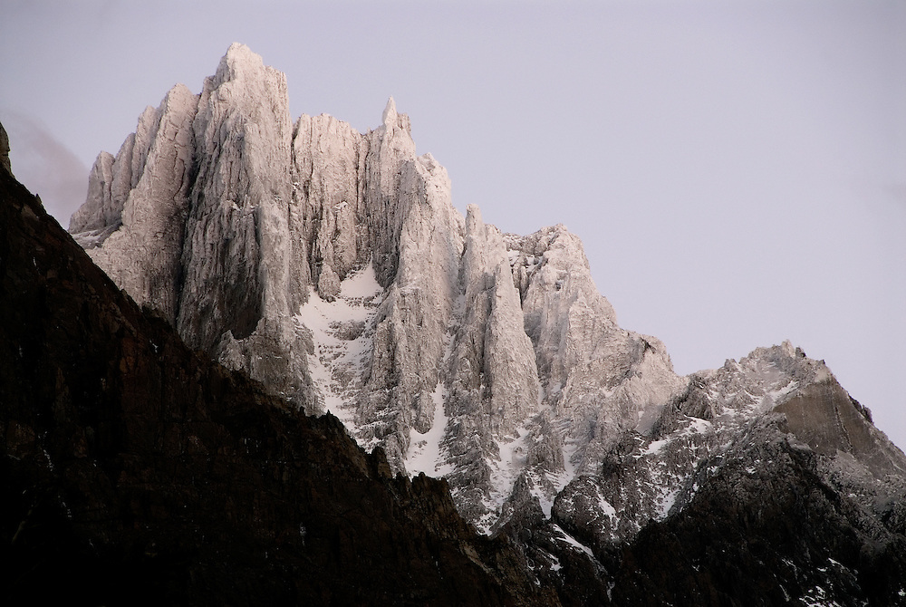 Paine Grande peak with dusting of fresh snow, Torres Del Paine National Park, Patagonia, Chile.
