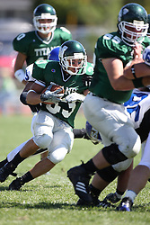 15 September 2007:  Bo Lanter makes a cut after a hand off from Kraig Ladd. The Titans stood toe to toe with the 25th ranked Lions through the first half but ended the game on the losing end of a 25-15 score at Wilder Field on the campus of Illinois Wesleyan University in Bloomington Illinois.