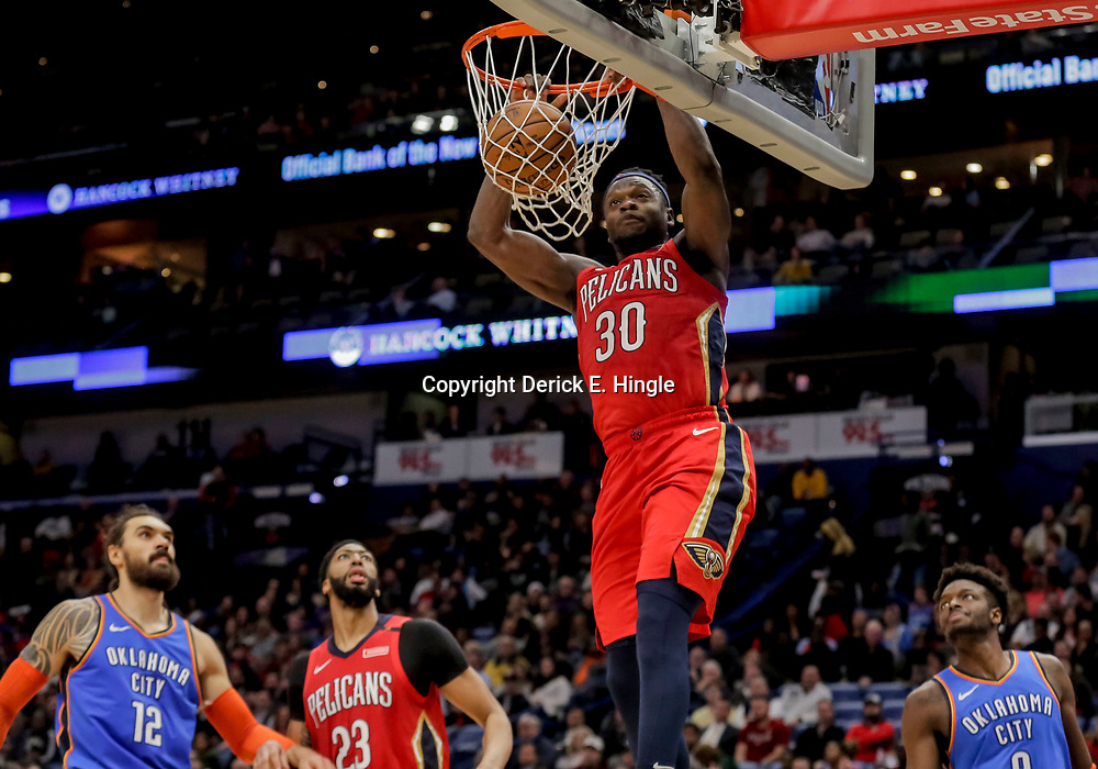 Dec 12, 2018; New Orleans, LA, USA; New Orleans Pelicans forward Julius Randle (30) dunks against the Oklahoma City Thunder during the second half at the Smoothie King Center. Mandatory Credit: Derick E. Hingle-USA TODAY Sports